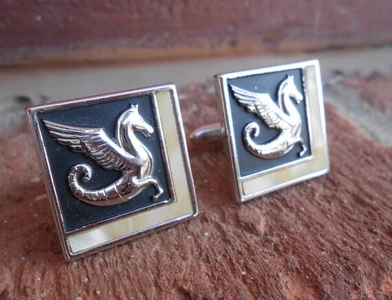 Vintage DRAGON Cufflinks.  Wedding, Men's, Groomsmen Gift, Dad, Valentines. Fantasy.