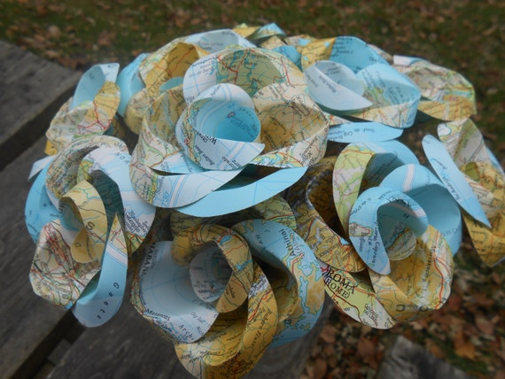 One Dozen Vintage MAP Paper Roses. Handmade Bouquet. Bridal, Anniversary, Centerpiece. CUSTOM ORDERS Welcome.