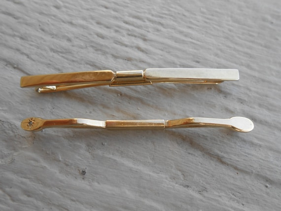 Vintage Gold Collar Clips.  Christmas, Wedding, Men's, Groomsmen Gift, Dad.