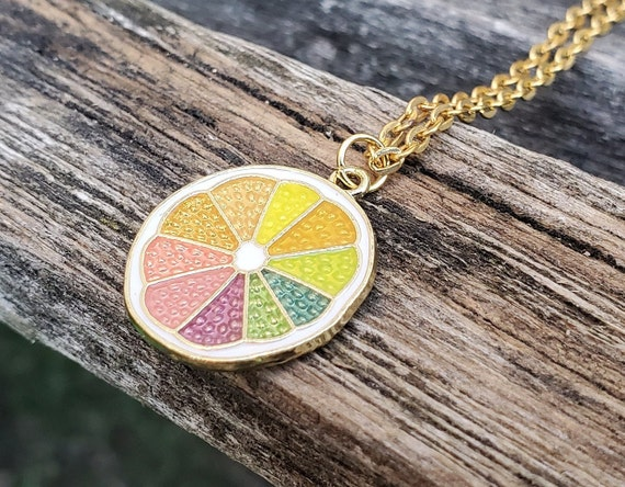 Rainbow Fruit Necklace. Birthday Gift, Bridesmaid, Mom, Anniversary Gift. Lemon Necklace, Orange Necklace