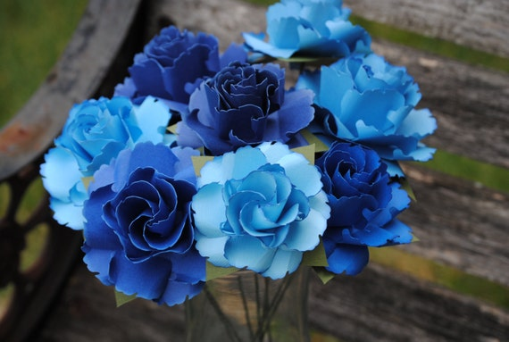 Dozen Wild Roses. Blue Ombre Or CHOOSE YOUR COLORS. Centerpiece, Wedding, Paper Flower Bouquet, First Anniversary