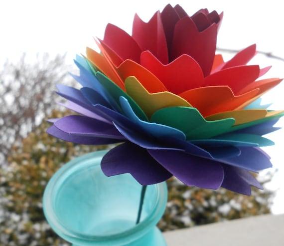 Single Rainbow Dahlia. ROYGBIV. Wedding, Gift, Decoration, Anniversary, Birthday, Gay Pride.