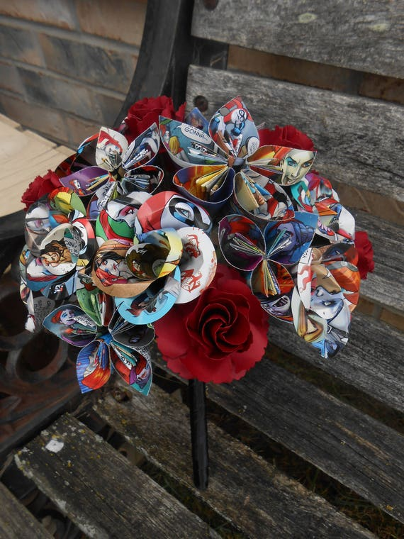 COMIC Flower Girl Bouquet, Mini Size. CHOOSE Your Comics, Colros,Papers, Books, Etc.  Anything Is Possible. Wedding, Toss