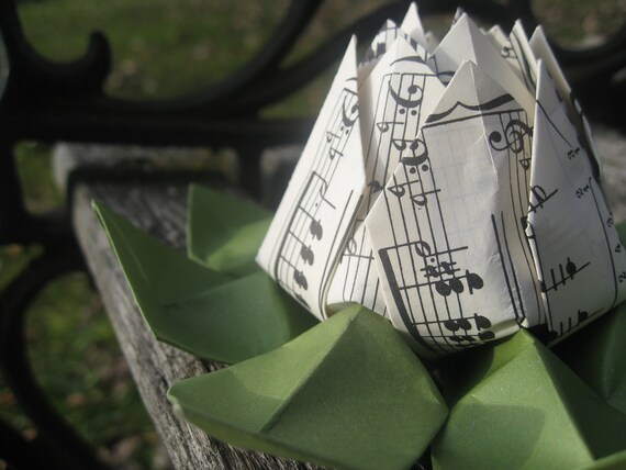 Vintage Sheet Music Origami Lotus. Gift, Wedding Decoration, Favor, First Anniversary. Just Because. Under 10. CUSTOM Orders Welcome.