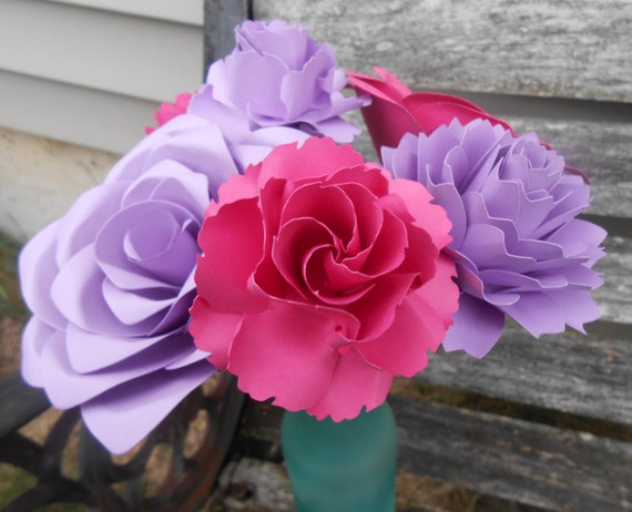 Paper Flowers, Half Dozen. CHOOSE YOUR COLORS. Centerpiece, Wedding, Paper Flower Bouquet, First Anniversary Gift