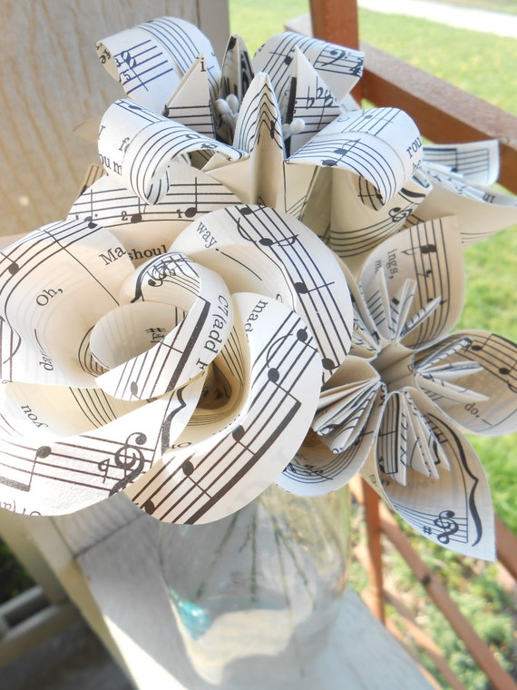 Vintage Sheet Music Flowers, Half Dozen. Anniversary Gift, Home Decor, Centerpiece, Wedding, Paper Flower Bouquet