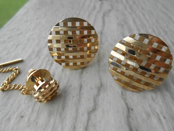 Vintage Gold Tone Cufflinks & Lapel Pin. Christmas, Wedding, Men's, Groomsmen Gift, Dad.