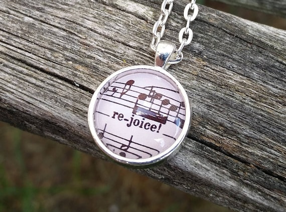 Rejoice Sheet Music Necklace. Vintage Music. Gift For Anniversary, Birthday, Bridesmaid, Wedding, Mom, Dad, Musician.