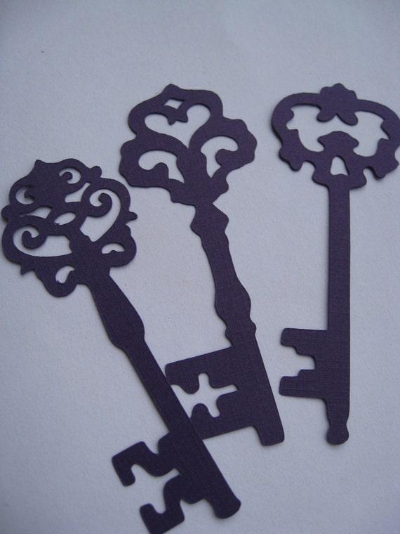 120 Skeleton Keys. 3.5 inch. CHOOSE YOUR COLORS. Cardstock, Escort Cards, Wedding, Wishing Tree, Cards, Etc.