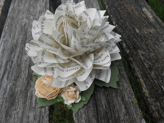 Book Dahlia Hair Piece. Wedding Hair Accessories. Paper Flowers. Bride, Bridesmaid, Flower Girl.