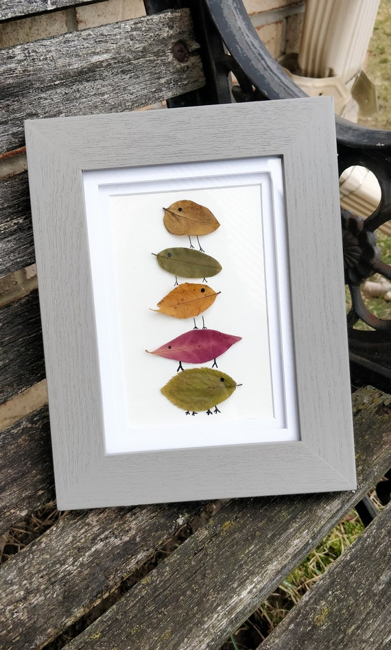 Leaf Animal Picture. Real Leaf Art. Baby Room Decoration, Kids Decor, Birthday Gift, Birds, Animal Art.