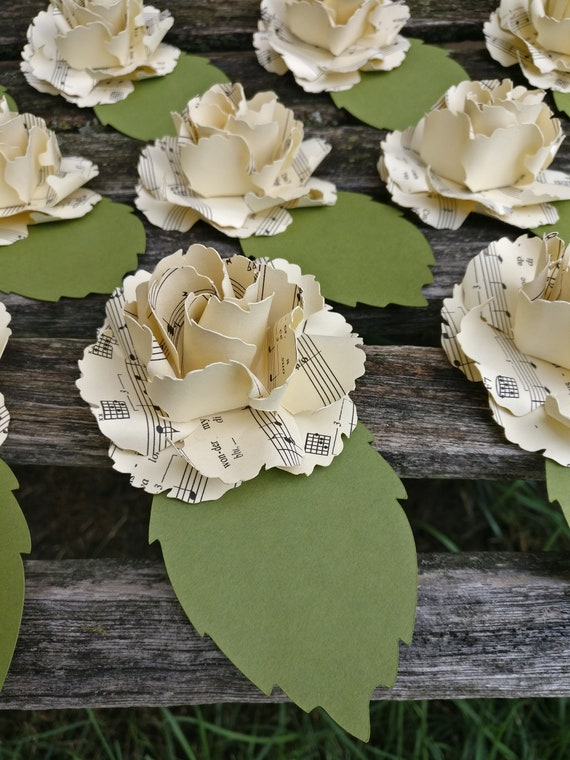 Place Card Roses, Sheet Music. CHOOSE YOUR COLORS & Amount. Wedding, Table Decoration, Escort Card.