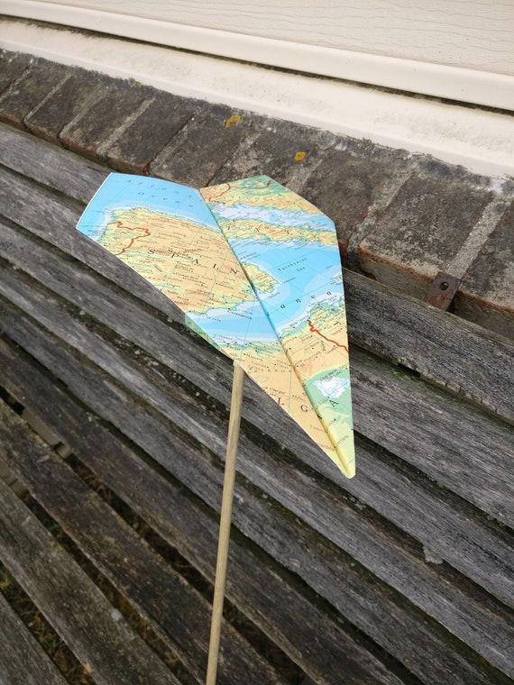 Paper Airplane Wand.  Wedding Decoration, Party, Birthday, Travel Wedding, Kids, Children, Fun Favor, Ring Bearer