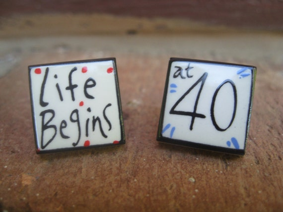 "Vintage ""Life Begins At 40"" Cufflinks, Sonia Spencer. Men's, Anniversary, Birthday Gift, Dad. CUSTOM ORDERS Welcome"