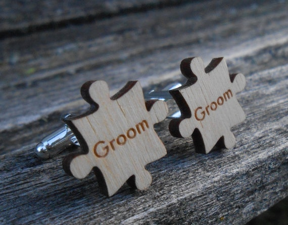 Personalized Puzzle Cufflinks. Wedding, Groom, Best Man, Groomsmen Gift, Dad, Father Of The Bride/Groom. Silver Plated.