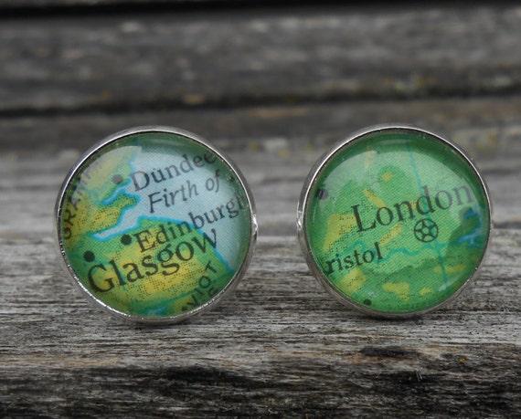 Vintage UK Map Cufflinks.  Wedding, Christmas Gift, Dad, Groom, Anniversary. Birthday. England, Ireland, Scotland
