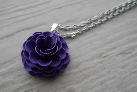 Paper Flower Necklace. CHOOSE YOUR COLOR!  Wedding, Christmas, Birthday, Gift, Women, First Anniversary