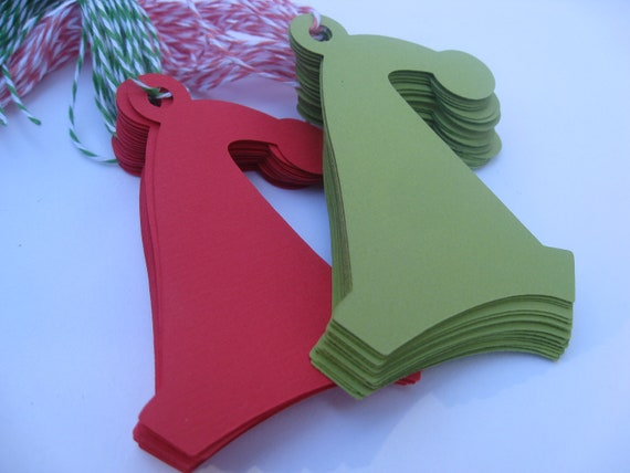 40 Santa HAT Tags. With Baker's Twine. 3.5 inch. Red & Green. Custom Orders Welcome. All COLORS AVAILABLE.