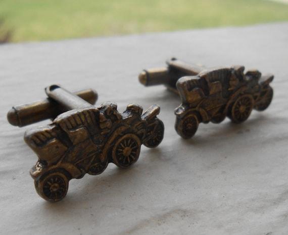 Vintage Model T Car Cufflinks. Wedding, Men's Christmas Gift, Groomsmen, Dad.  Antique Bronze, Classic Car