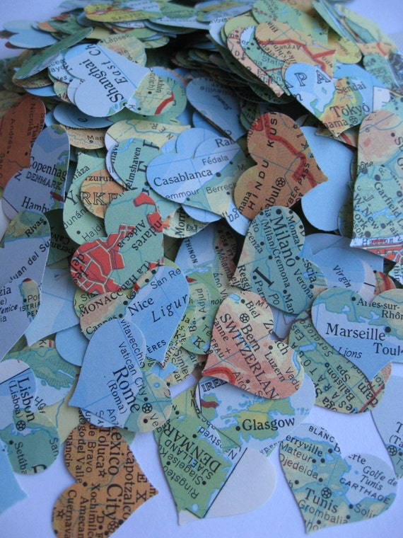 500 Vintage Map Confetti. Bright Blue, Orange, Yellow, Green, Red, Etc. World Map. Or CHOOSE YOUR MAP. Heart Shaped. Custom Orders Welcome.
