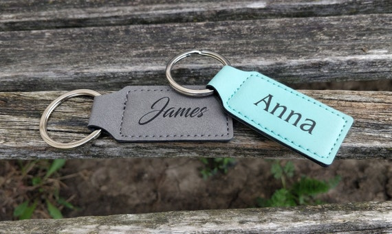 Customized Leather Keychain. Laser Engraved Tag. Wedding, Groomsmen Gift, Dad, Anniversary. Groom, Birthday, Christmas, Stepdad. Key Fob