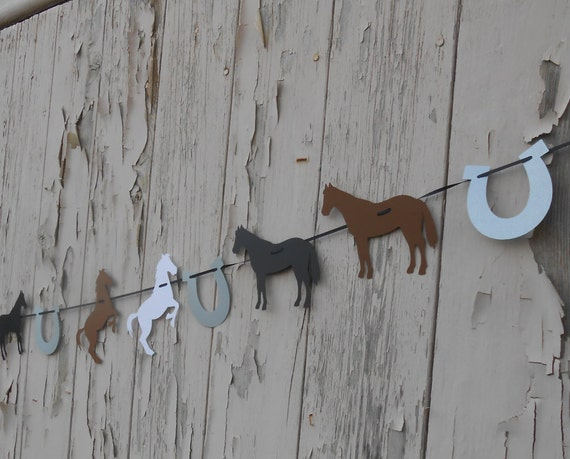 Horse & Horseshoe Garland. CHOOSE YOUR COLORS. Wedding, Shower, Birthday, Home Decoration, Cowboy, Western.