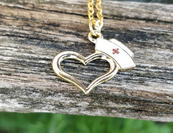 Nurse Heart Necklace. Health Care Worker Gift,  For Mom, Nurse Gift