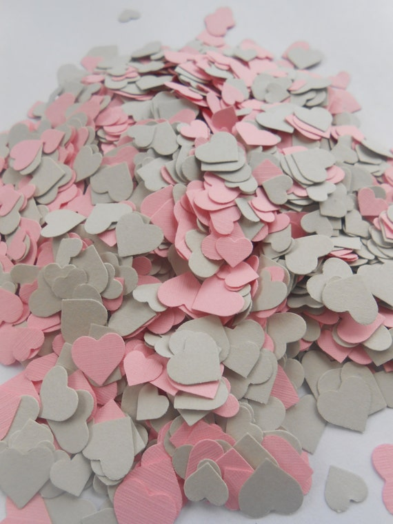 Over 2000 Mini Confetti Hearts. Light Grey & Pink Mix. Wedding, Party Decorations. Choose Your Colors.