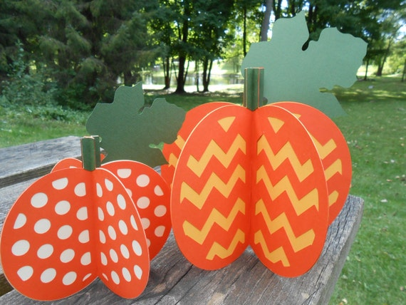 Pumpkin Decorations, 3-D Set of 2. Halloween, Thanksgiving Decor, Fall Decoration, Wedding Centerpiece.