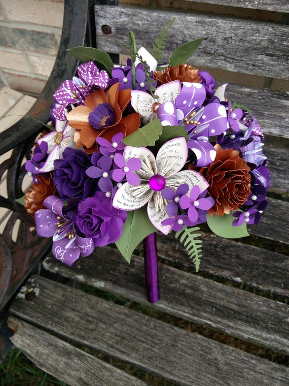 Custom BOOK Paper Flower Wedding Bouquets. Bride, Bridesmaid.  Custom Orders Welcome