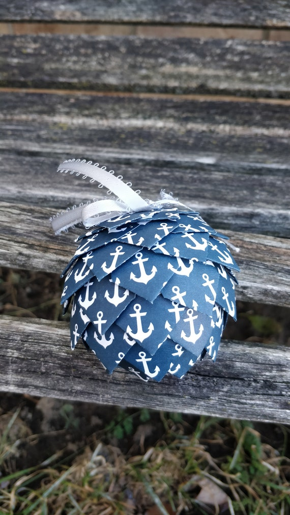 Navy Anchor Paper Ornament. Decoration, Christmas, Gift, Birthday, Anniversary, Wedding.