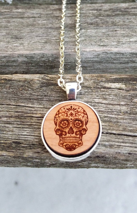 Sugar Skull Necklace. Laser Engraved. Wedding, Christmas, Anniversary, Birthday, Valentine, Father's Day, Groom