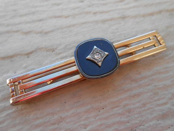 Vintage Rhinestone Gold Tie Clip  Christmas, Wedding, Men's, Groomsmen Gift, Dad. Swank