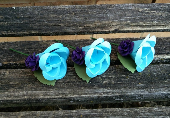 Paper Flower Boutonnieres.  Any Amount, Colors. Custom Orders Welcome. Wedding, Prom, Event, Flower Girl, Mother of the Bride, Groom