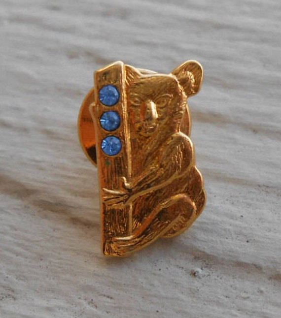 Vintage Koala Bear Pin. Blue Stones. Vintage 1960s. Groomsmen, Anniversary, Men's Gift., Women.