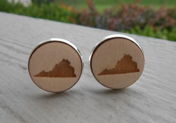 Wood STATE Cufflinks. VIRGINIA. Laser Engraved. Wedding, Men's, Groomsmen Gift, Dad. Custom Orders Welcome. Roanoke