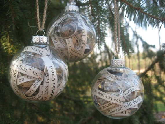 A Christmas Carol Ornaments. Charles Dickens Book. Christmas, Holiday Gift, Mom, Dad, Literary.