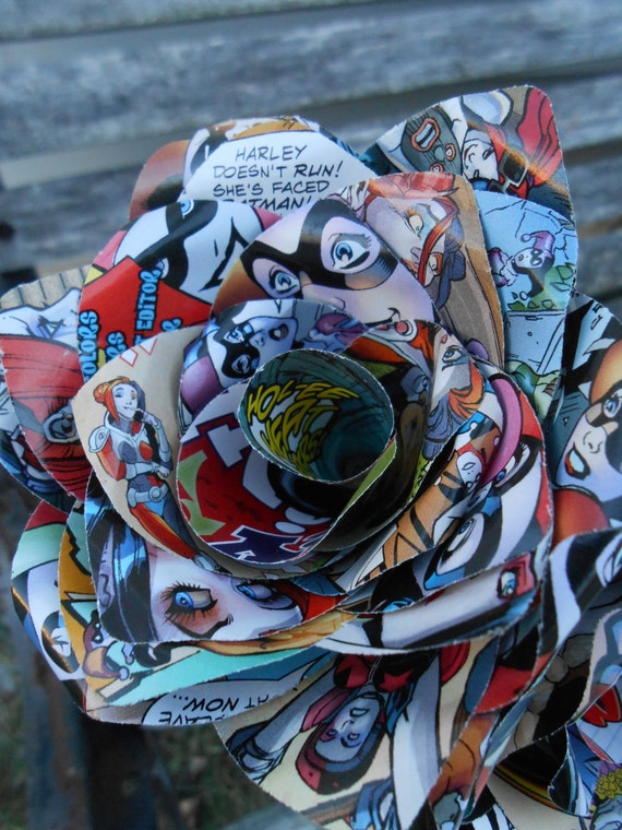 2 Comic Book Roses. Wedding, Birthday, Anniversary, Centerpiece. Gift. First Anniversary Gift.