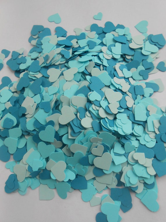 Over 2000 Mini Confetti Hearts. TURQUOISE OMBRE Mix. Wedding, Party Decorations. Choose Your Colors.