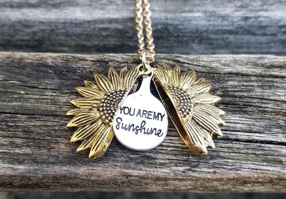 Sunflower Necklace. Sunflower Locket. Gift For Wedding, Bridesmaids, Kids, Anniversary, Birthday, Christmas.