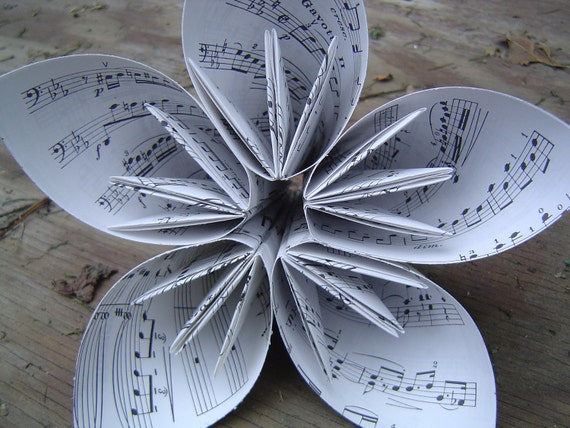 HUGE Sheet Music Kusudama Paper Flower. Great For Wedding Centerpiece, Office Decoration, Gift, Etc.