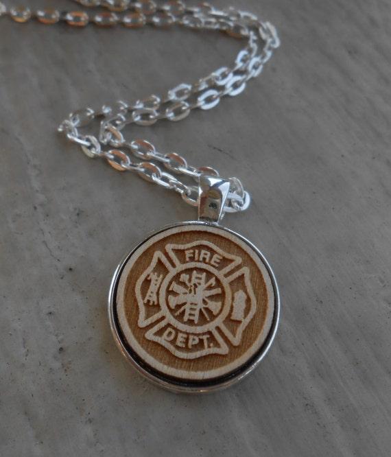 Firefighter Maltese Cross Necklace. Laser Engraved. Wedding, Men's Christmas Gift, Dad. Birthday, Anniversary. Custom Orders Welcome.