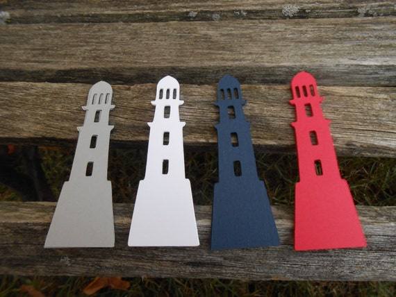 50 Lighthouses. CHOOSE COLORS & SIZE. Nautical Wedding, Table Decor, Place Cards, Seating. Custom Orders Welcome.