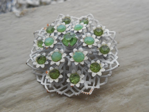 Vintage Green & White Floral Brooch, Pin.  Anniversary, Women, Mom Gift.  Snowflake