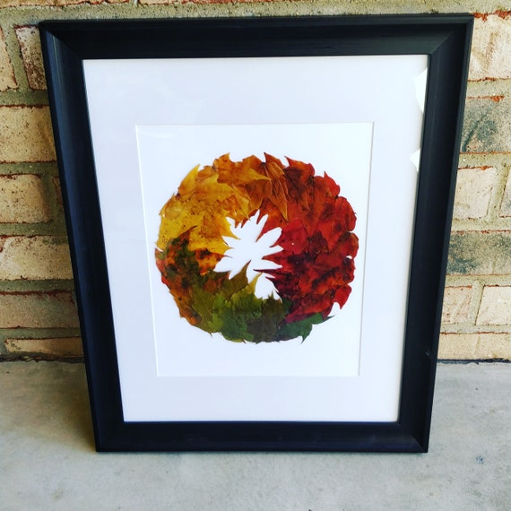 Leaf Wreath Picture. Real Leaf Art. Baby Room Decoration, Kids Decor, Birthday Gift, Birds, Animal Art.