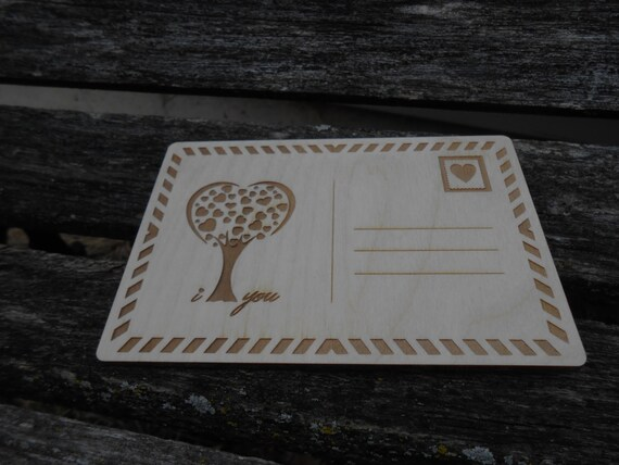 Personalized Wood Postcard, Laser Engraved. Valentine's, Anniversary, Save The Date, Birthday.