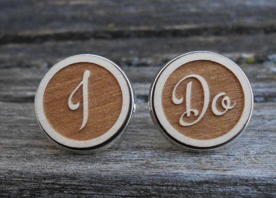 I DO Cufflinks. Unique Gift, Son, Wedding, Groom, Groomsmen, Father of the Bride, Anniversary, Monogram