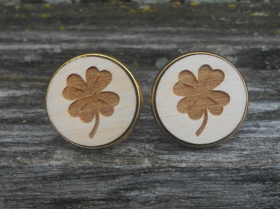 Shamrock Cufflinks. Clover. St. Patrick's Day, Wedding, Men's, Groom Gift, Fifth Anniversary Gift, Valentine's Day. Wood. Groomsmen. Lucky