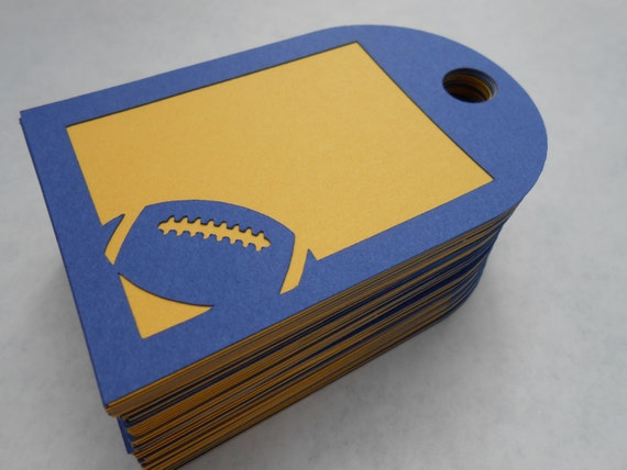 50 Football Tags, 4 x 2.6 Inch. CHOOSE YOUR COLORS. Party, Favor.