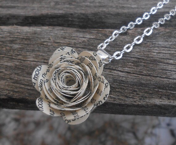 OUR SONG Flower Necklace. Wedding Vows, Poem. Custom, Personalized.  Unique, Wedding, Anniversary, Birthday, Valentine